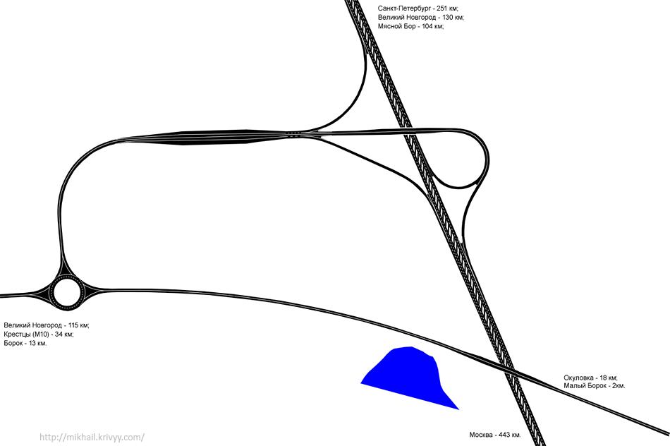 Развязка и пункт приема оплаты на пересечении с автодорогой Крестцы - Окуловка - Боровичи.