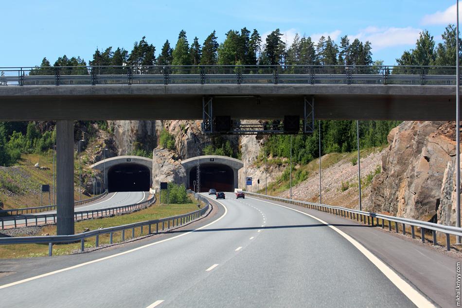 Тоннели на Е18 между Хельсинки и Турку.