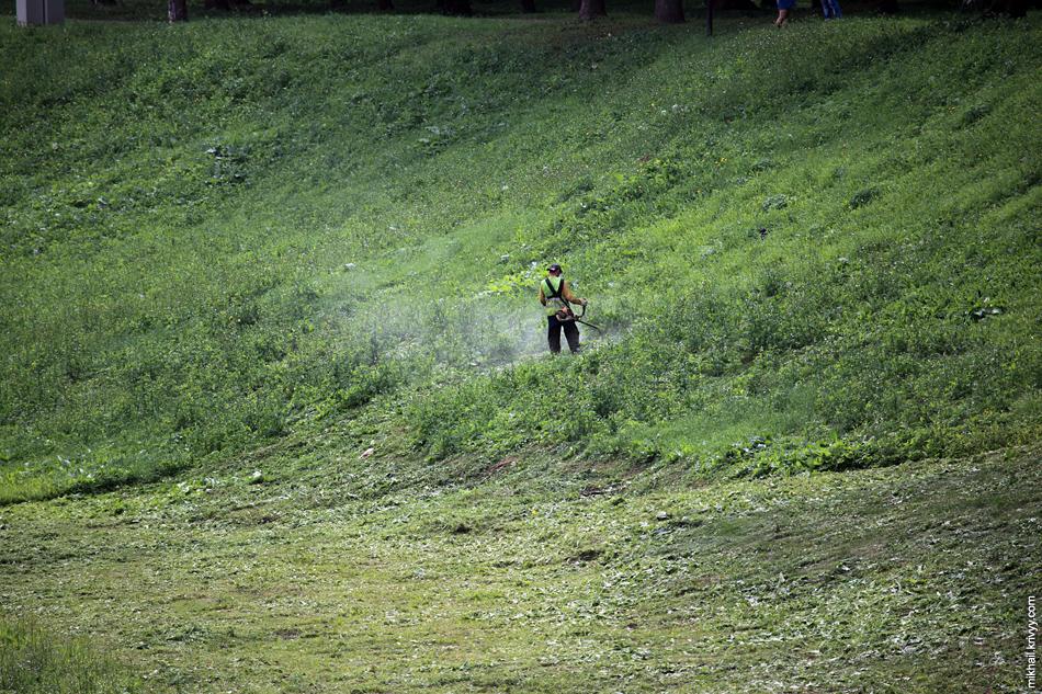 Может в таких оврагах вообще не косить траву? Не факт что будет смотреться хуже.
