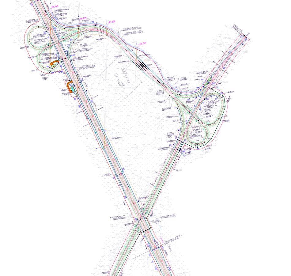 Схема развязки на пересечении автомагистрали М11 Москва - Санкт-Петербург с автодорогой Р41 Луга - Любань - Павлово.