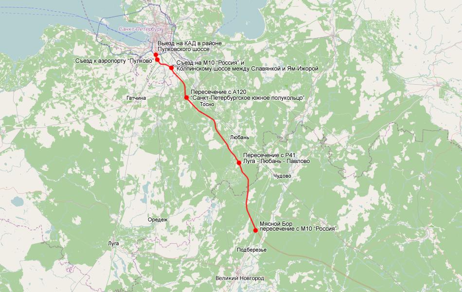 Общая схема прохождения скоростной платной автомагистрали Москва - Санкт-Петербург (М11) с 543 км. (Мясной Бор) по 684 км. (КАД Санкт-Петербурга)