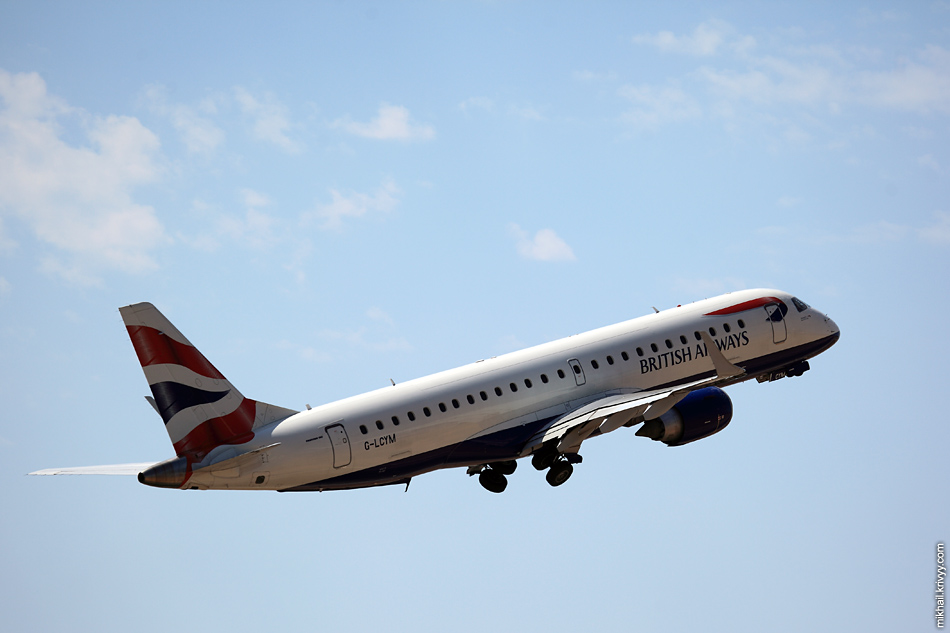 "12:35, ""Embraer ERJ-190"" G-LCYM, BA CityFlyer. Palma de Mallorca (PMI) - London Heathrow (LHW)"