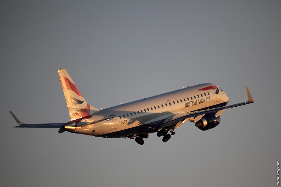 А вот такой был свет. Embraer ERJ-190, G-LCYO, BA CityFlyer.
