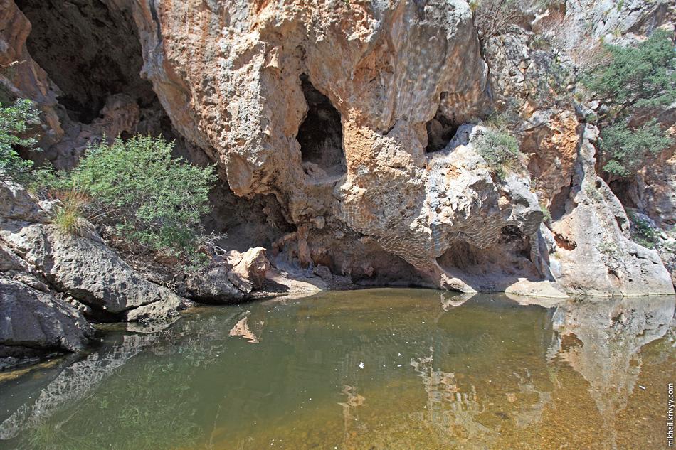 По всей видимости, ущелье весной превращается в горную реку. А может и нет, в нескольких километрах вверх по течению расположено главное водохранилище острова. А в августе здесь только заводи.