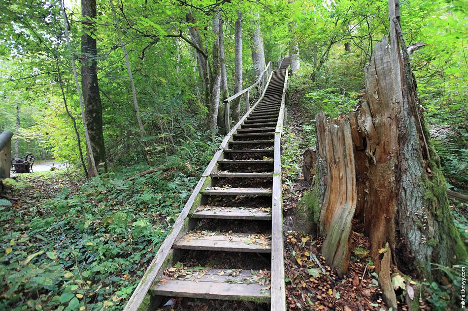 А вот так выглядят лестницы в Сигулдском парке. Некоторые в плохом состоянии, но по центральным можно ходить без проблем.