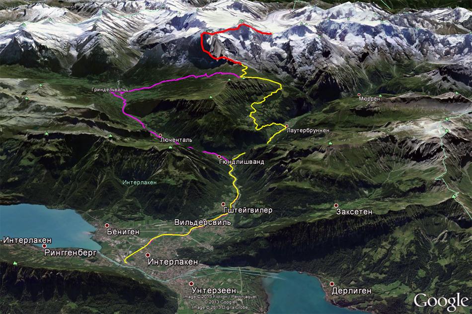 Горный участок маршрута по которому нам предстояло проехать. Участок красным цветом нарисован неточно. В этом месте поезд идет в тоннеле внутри горы, постепенно поднимаясь вверх. Фиолетовым цветом обозначена дорога туда, желтым - дорога обратно. Красным цветом - тоннель до перевала.