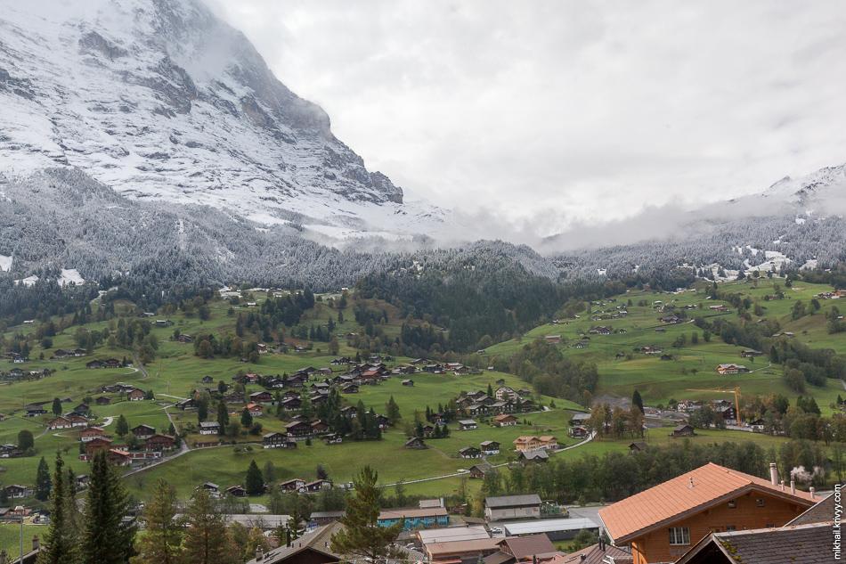 Вид из окна поезда. Гриндельвальд (Grindelwald).
