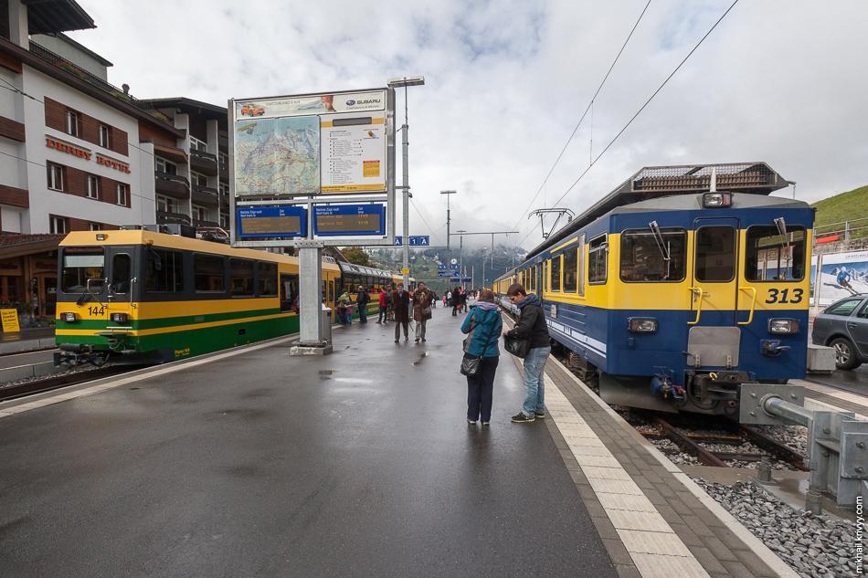 На станции Гриндельвальд (Grindelwald). Справа, поезд на котором мы приехали (Berner Oberland Bahn, BOB), слева, на который нам предстоит пересесть (Wengernalpbahn).