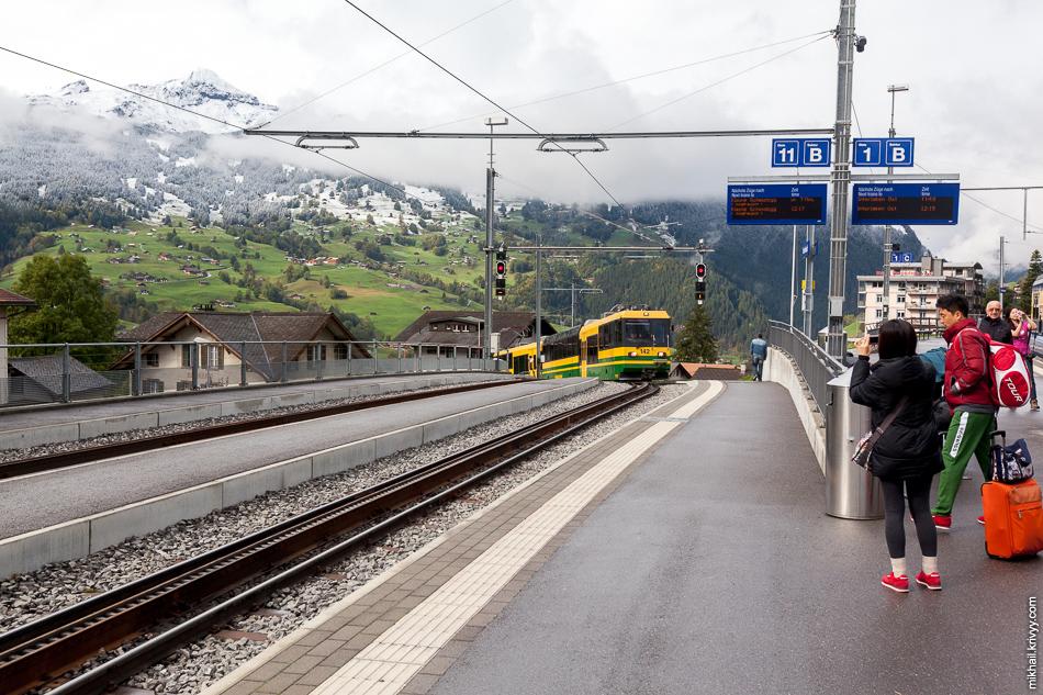 """Поезд железных дорог """"Венгернальп"""" (Wengernalpbahn). Он нас повезет из Гриндельвальд (Grindelwald) до перевала Клайне-Шайдег (Kleine Scheidegg)."""