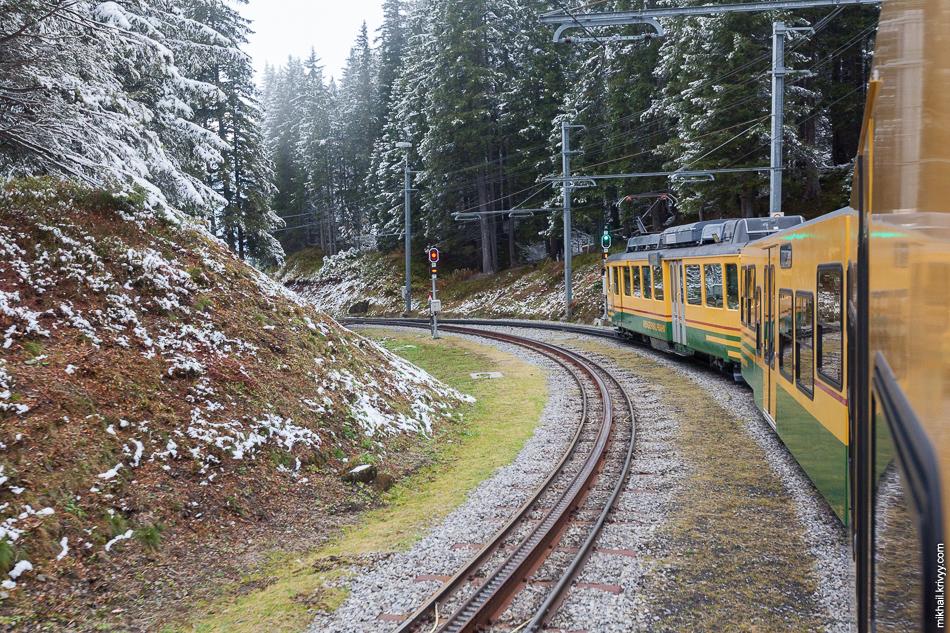 """Вид из поезда Клайне-Шайдег (Kleine Scheidegg) - Лаутербруннен (Lauterbrunnen). Железная дорога """"Венгернальп"""" (Wengernalpbahn). Тут мы как-то очень быстро выехали из снега."""