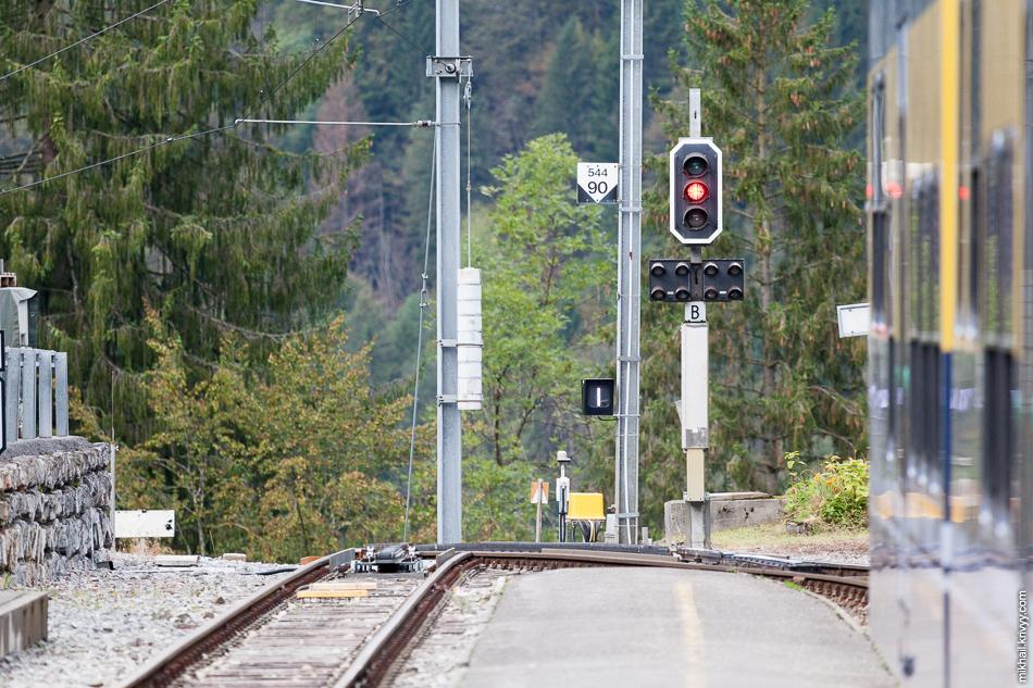 Северная горловина станции Лаутербруннен (Lauterbrunnen).