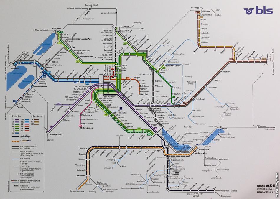 Схема движения городских электричек Берна (S-Bahn) .