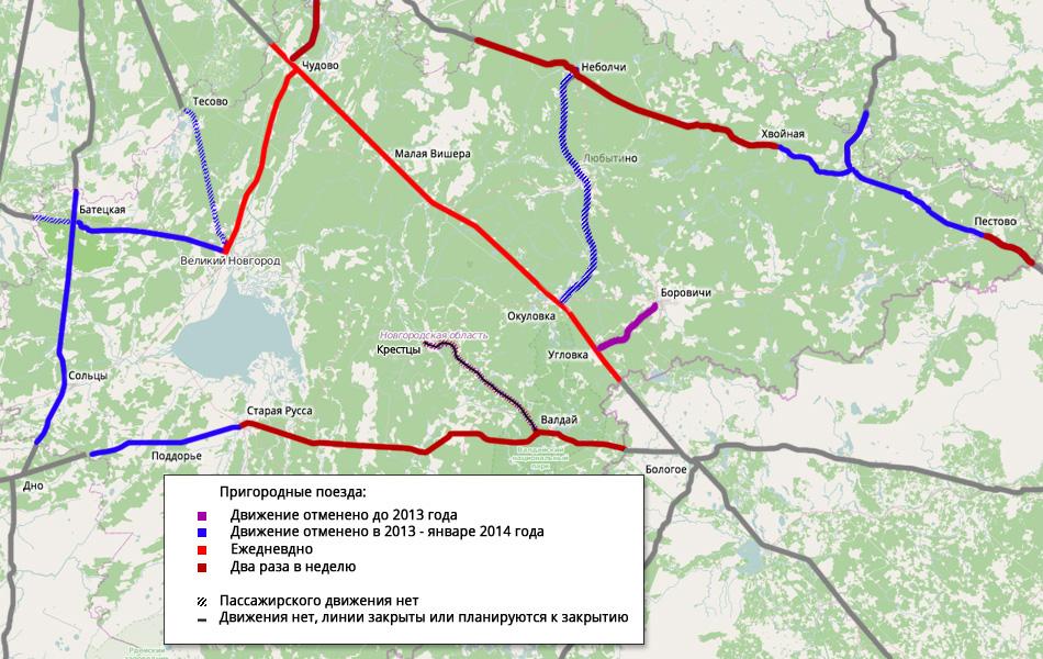 Пригородное движение в новгородский области по состоянию на февраль 2014 года. По данным сервиса Яндекс-Расписания.