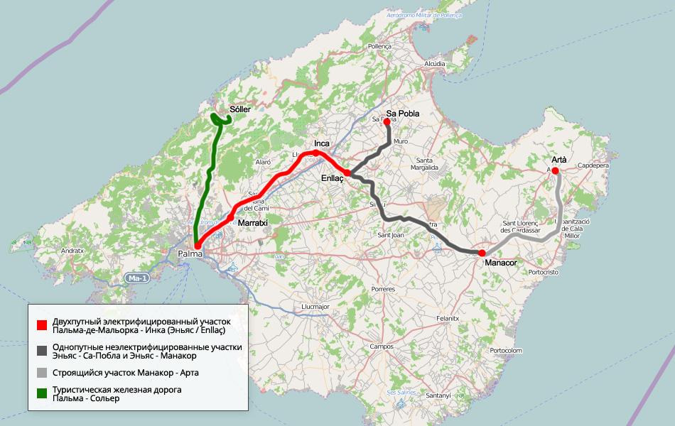 Карта железных дорог острова Мальорка (без метро). 2013 год.