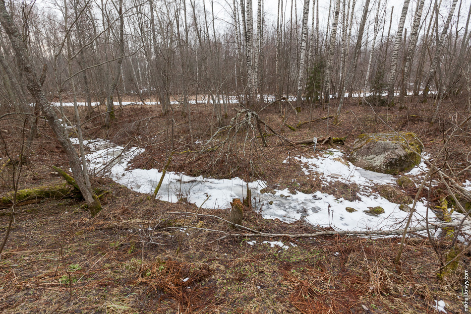 В 1 км. вверх по течению, у одного из ручьев находится камень Щеглец.
