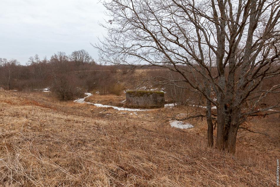 Северная часть валуна находится в русле ручья.