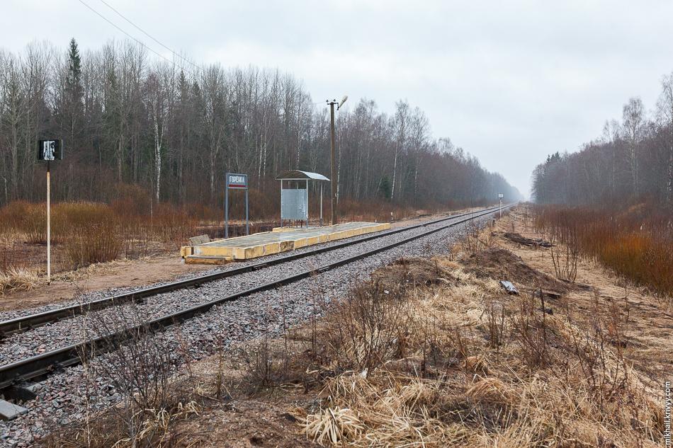 Остановочный пункт Горёнка. Этот участок отремонтировали в прошлом году. Размер навеса, как бы намекает, остановочный пункт сделан для рабочих обслуживающих эту ветку.