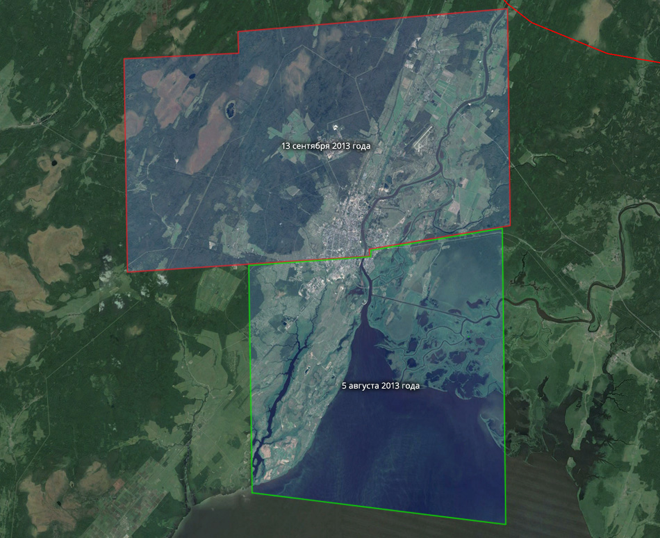 Свежие спутниковые снимки Великого Новгорода. (c) Google Maps.