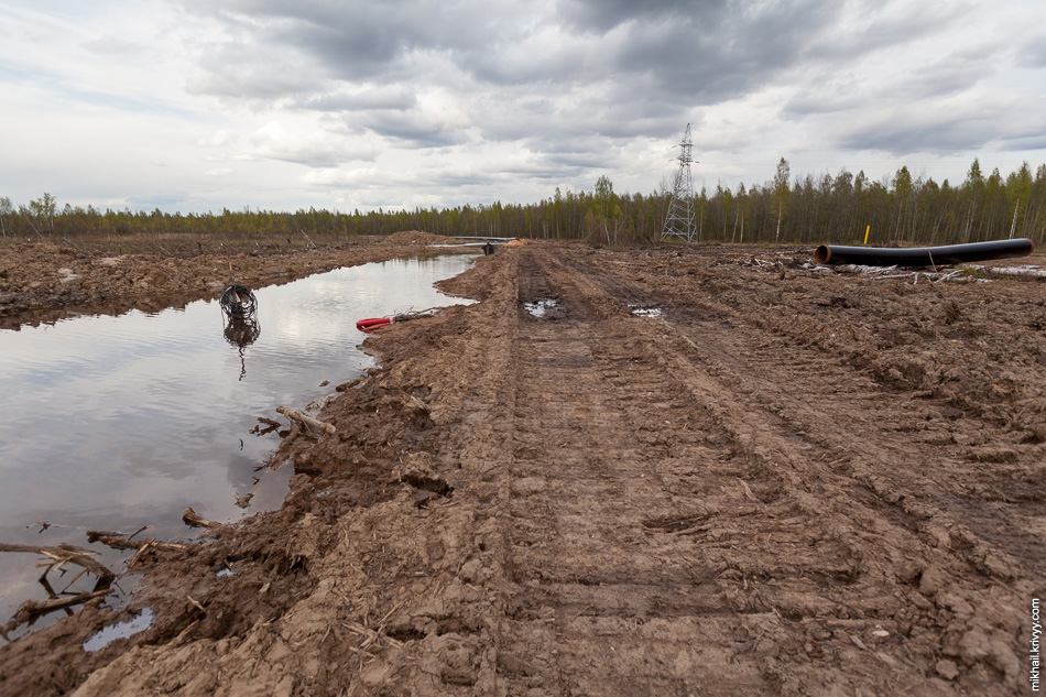Просека обхода газопровода почти полностью в воде. В воде стоят остатки сварочного оборудования. Передвигаться там можно только по импровизированной дороге из бревен.