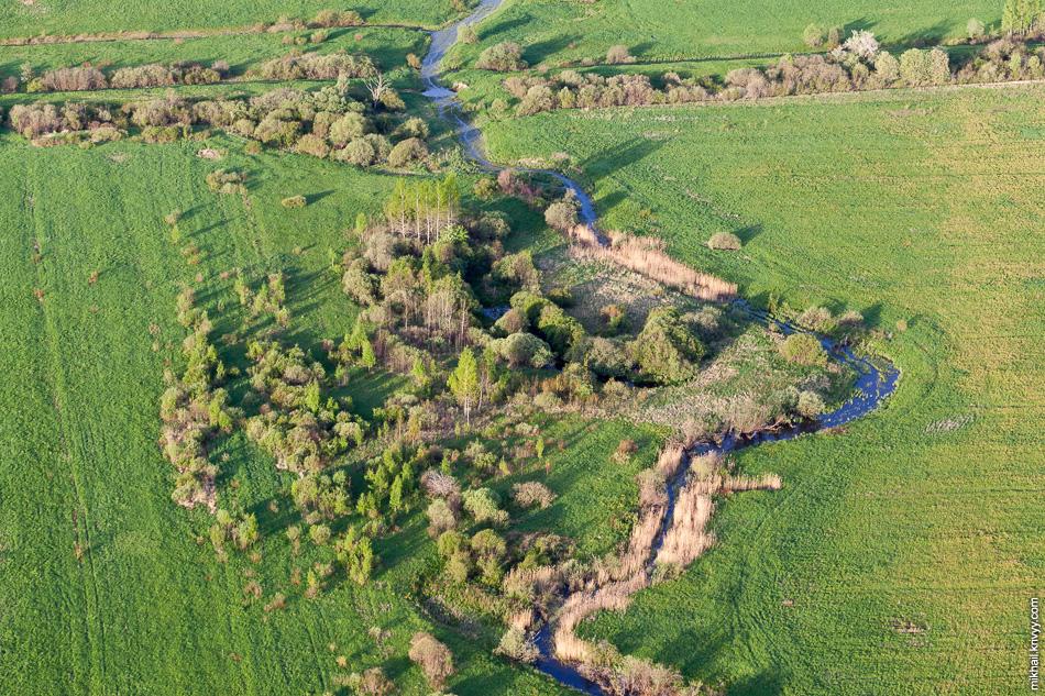 Река Кольчища, один из притоков реки Тулебля. Опять видна насыпь бывшей железной дороги Старая Русса - Шимск - Новгород.