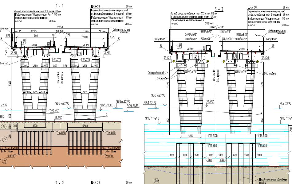 А вот так будут выглядеть опоры моста через реку Волхов. На чертежах есть высота. Проще всего понять масштаб посмотрев на мачты освещения.