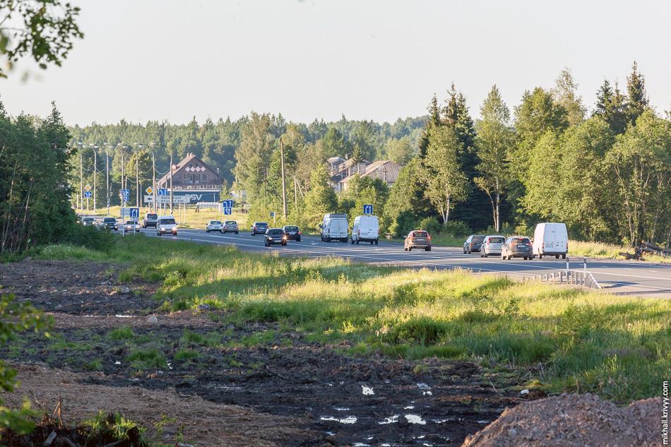 """Вид по М10 """"Россия"""" в сторону Санкт-Петербурга и Мясного Бора. Лес вырублен с учетом того что М10 в этом месте будет расширена до четырех полос, плюс полосы для разгона и торможения."""