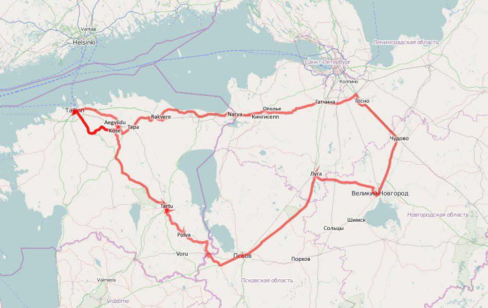 Карта кругоэстонского путешествия.