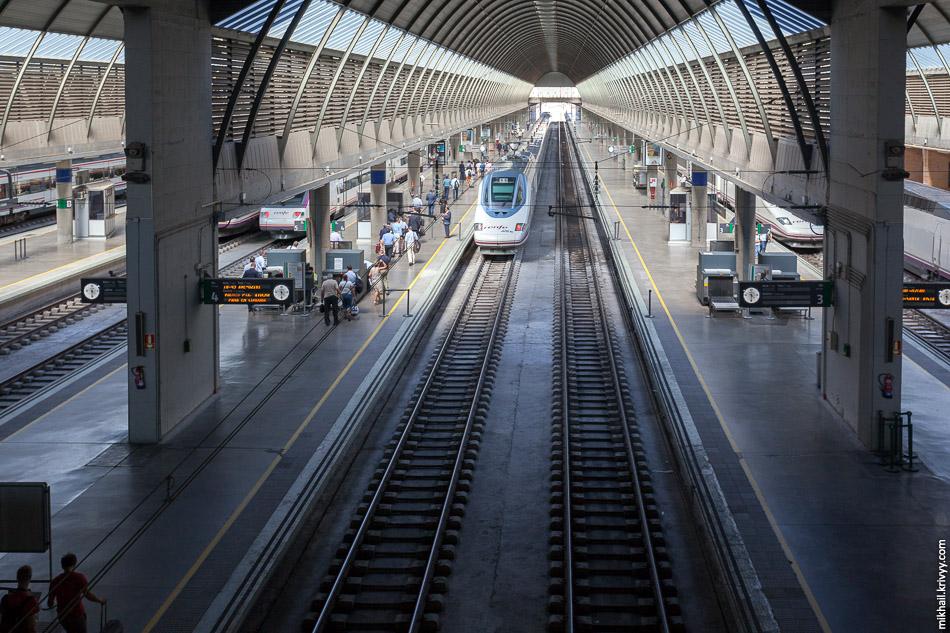 Вокзал Севилья Санта-Хуста. Одновременно в кадре AVE Class 100 (TGV Atlantique), AVE Class 102 (Talgo 350), AVANT Class 104 (Talgo) и пригородный S-462 на широкой колее.