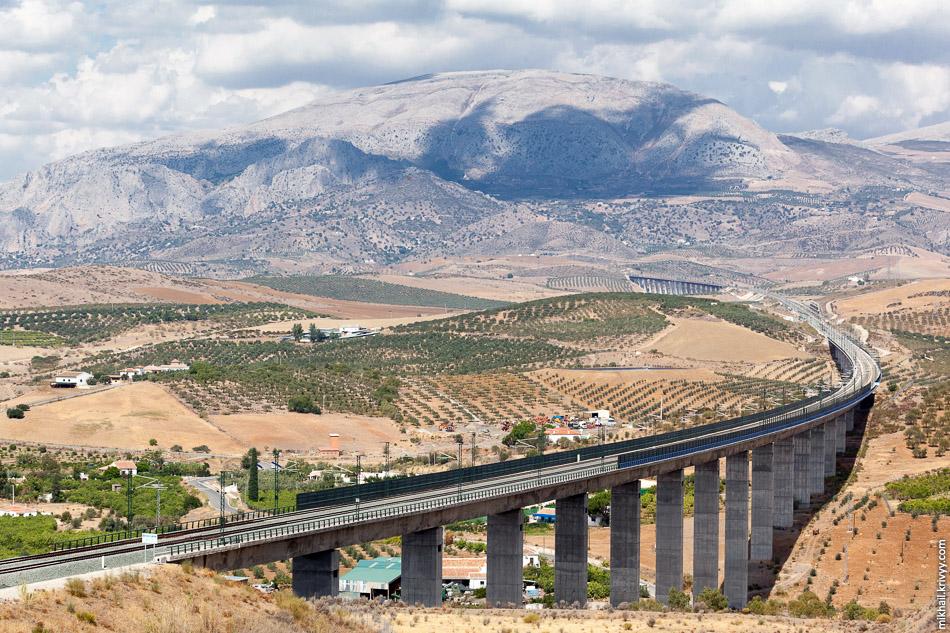 С виадука в тоннель. Непростой рельеф. Высокоскоростная линия Кордоба - Малага (LAV Córdoba - Málaga).