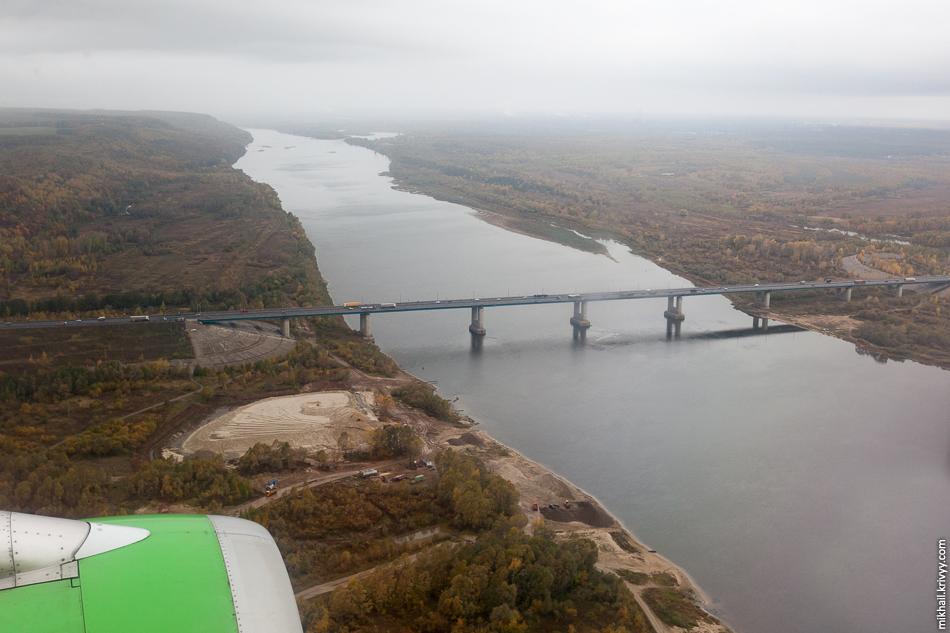 Мост через Оку. Во время посадки в аэропорту Стригино (Нижний Новгород).