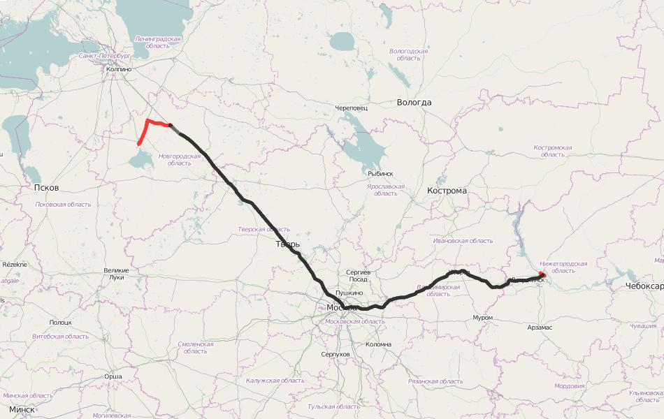 GPS трек из одной из прошлых поездок. Великий Новгород - Малая Вишера - Нижний Новгород.