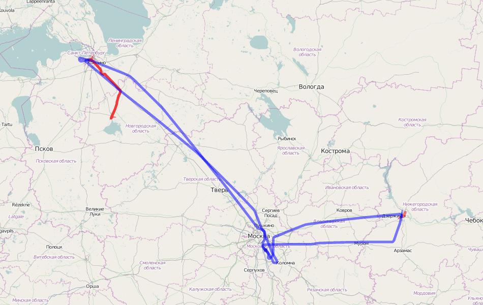 GPS трек перелетов. Пулково - Домодедово - Стригино.