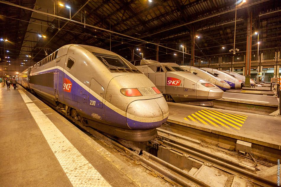 Высокоскоростные поезда TGV на Лионском вокзале.