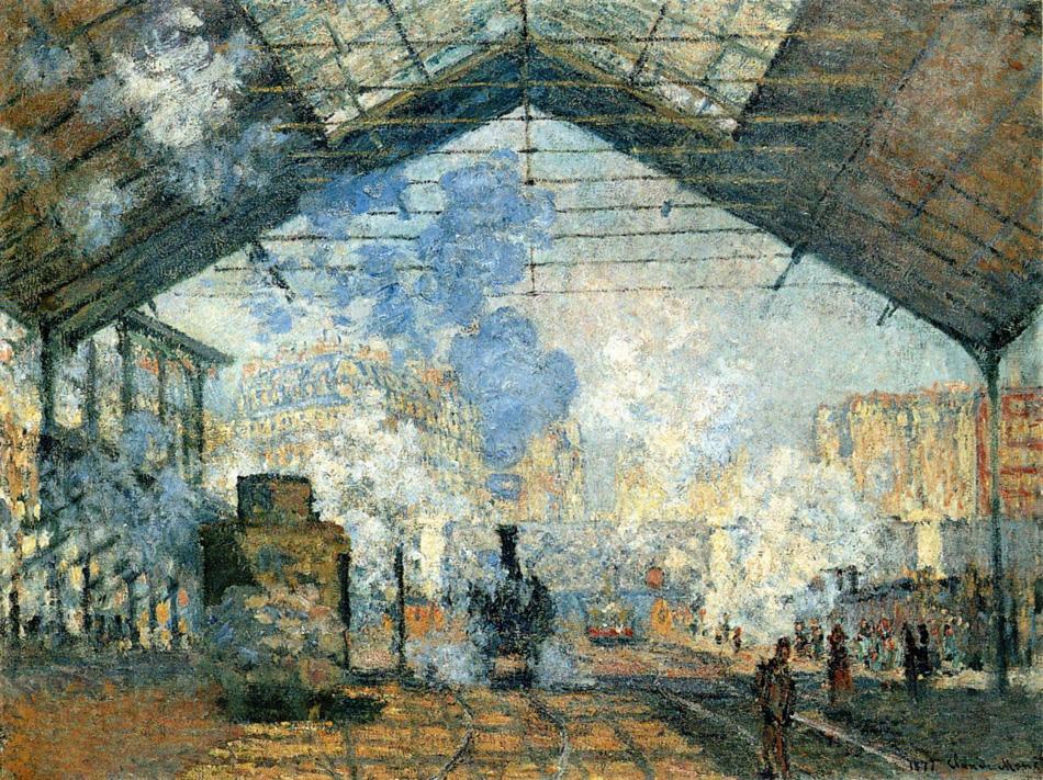 """Клод Моне, """"Вокзал Сен-Лазар"""". 1877, оригинал находится в музее Орсе."""