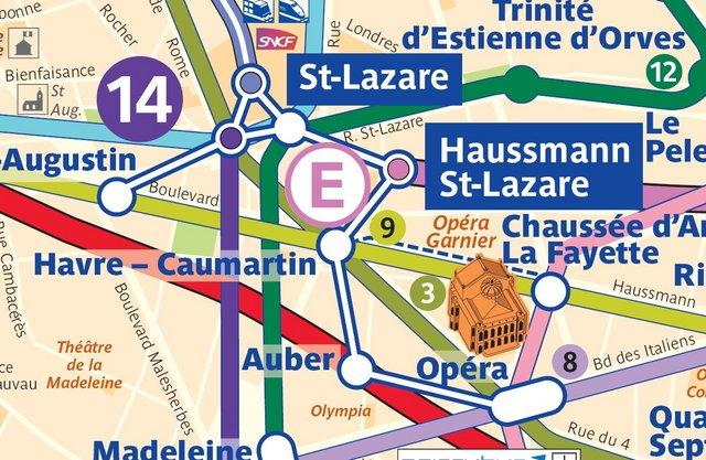 Схема переходов Опера (Opera) - Обер (Auber) - Сен-Лазар (Saint-Lazare)