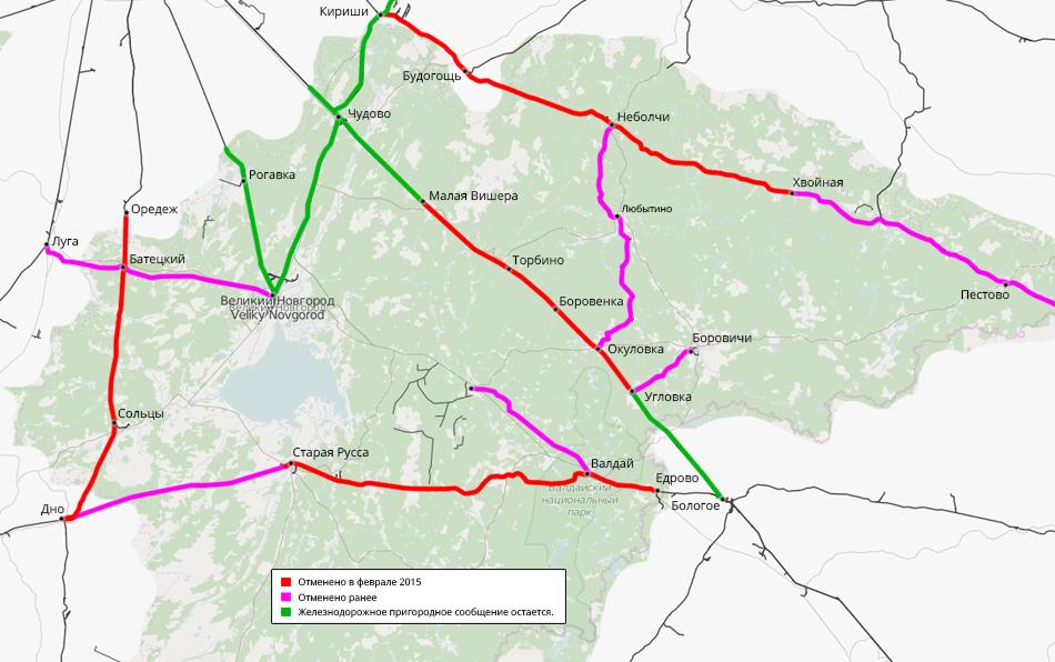 Пригородное пассажирское движение отменено на 80% железных дорог новгородской области (912 км из 1144 км).