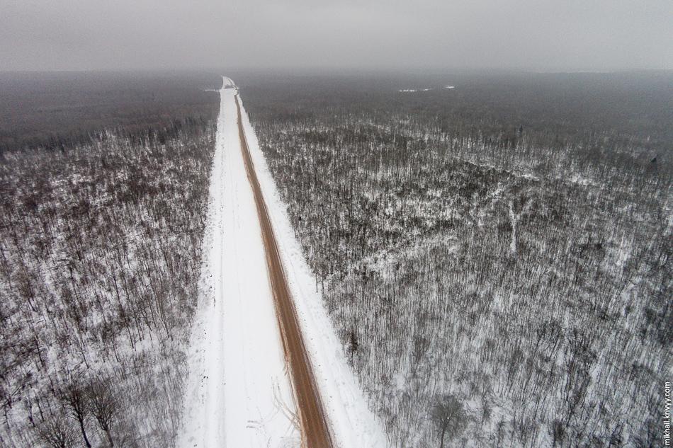 М11: 537 км. Вид в сторону Москвы.