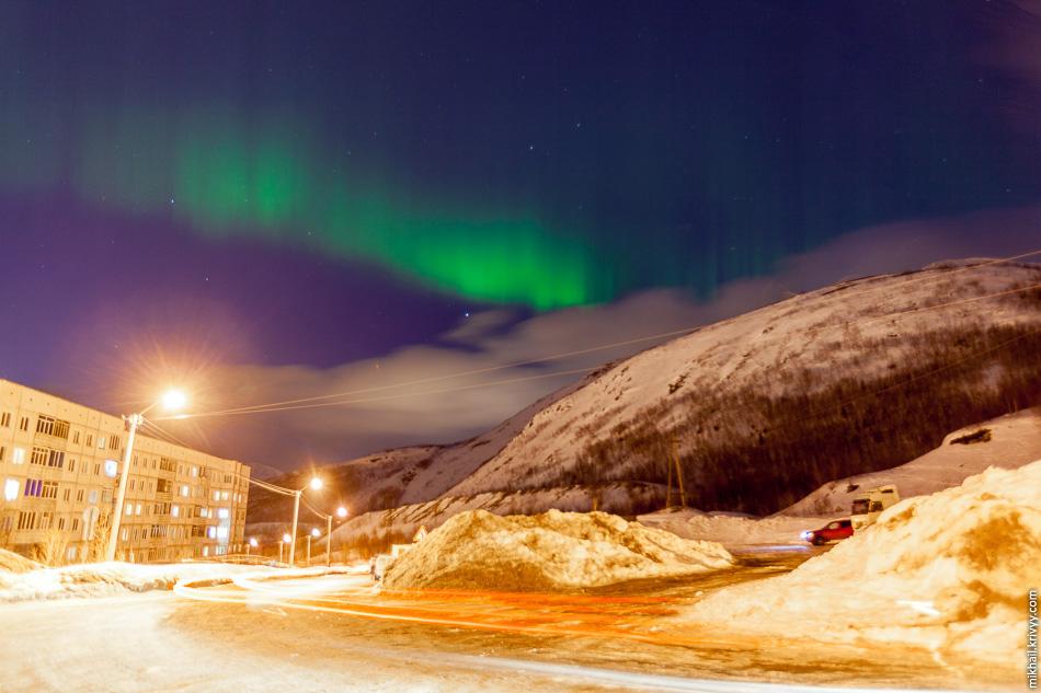 Северное сияние, Кировск, гора Айкуайвенчорр, Хибины.
