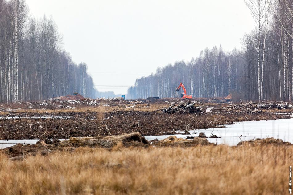 Вид в сторону Санкт-Петербурга. Примерно 544-545 км будущей платной автомагистрали. Этот экскаватор там уже несколько лет, тем не менее, сегодня он работал.