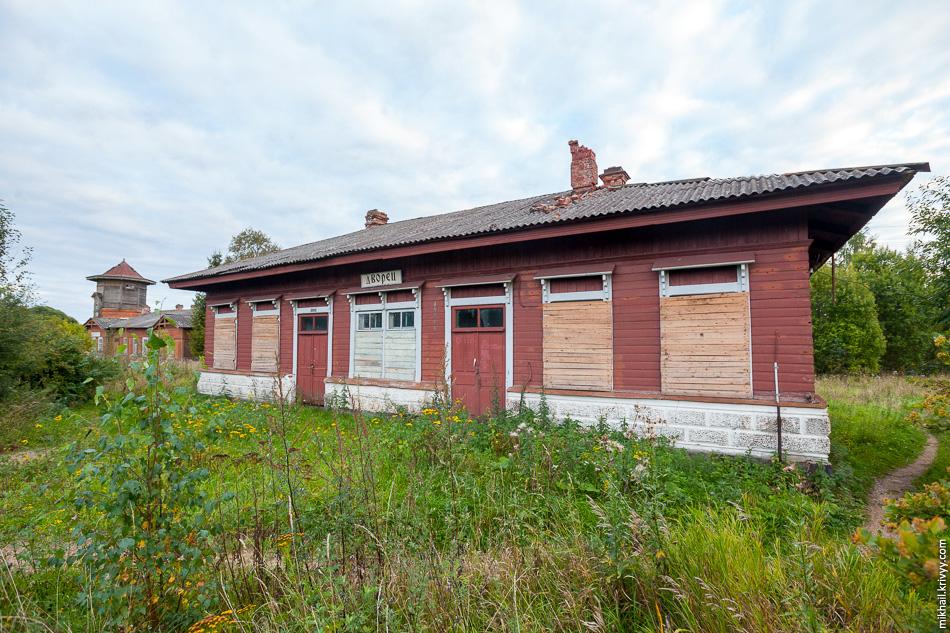 Вокзал станции Дворец давно закрыт. В 2006 году окна еще не были заколочены.