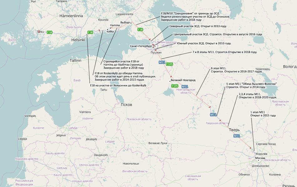 Карта автомагистралей от Хельсинки до Москвы через Санкт-Петербург.