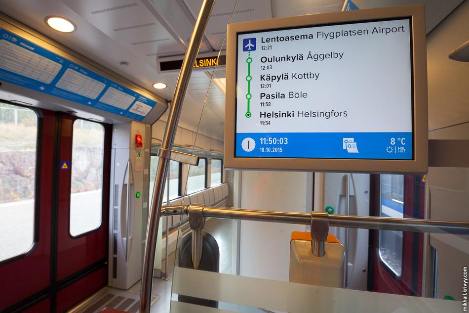 Информационный экран. Показывает станции, время, скорость, температуру за бортом. Рекламу не показывает.