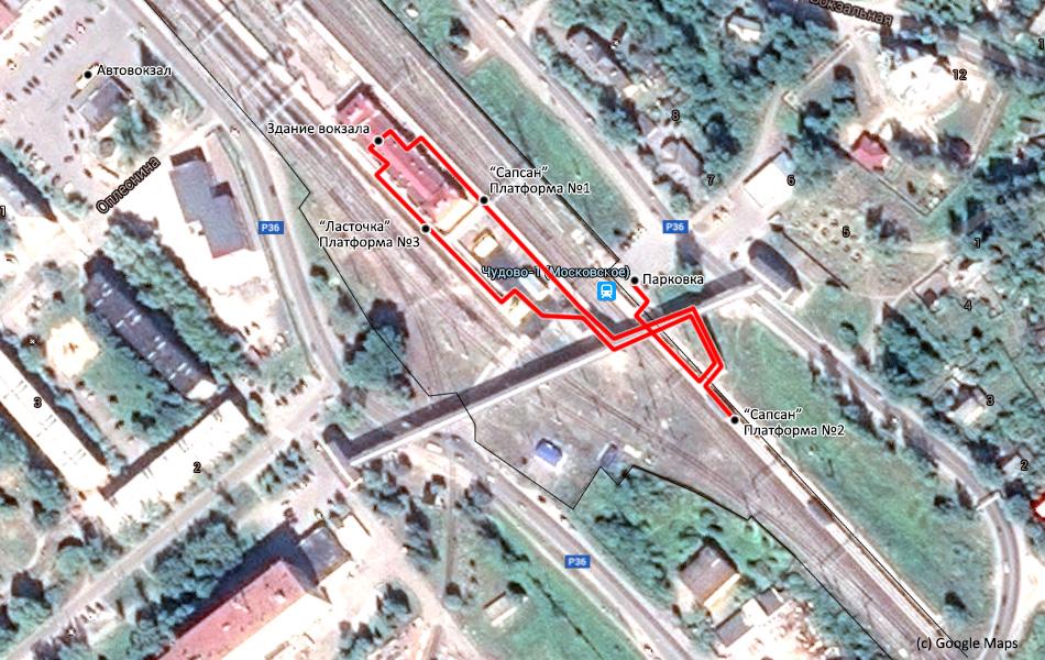 """Схема движения от парковки до посадки в """"Сапсан""""."""