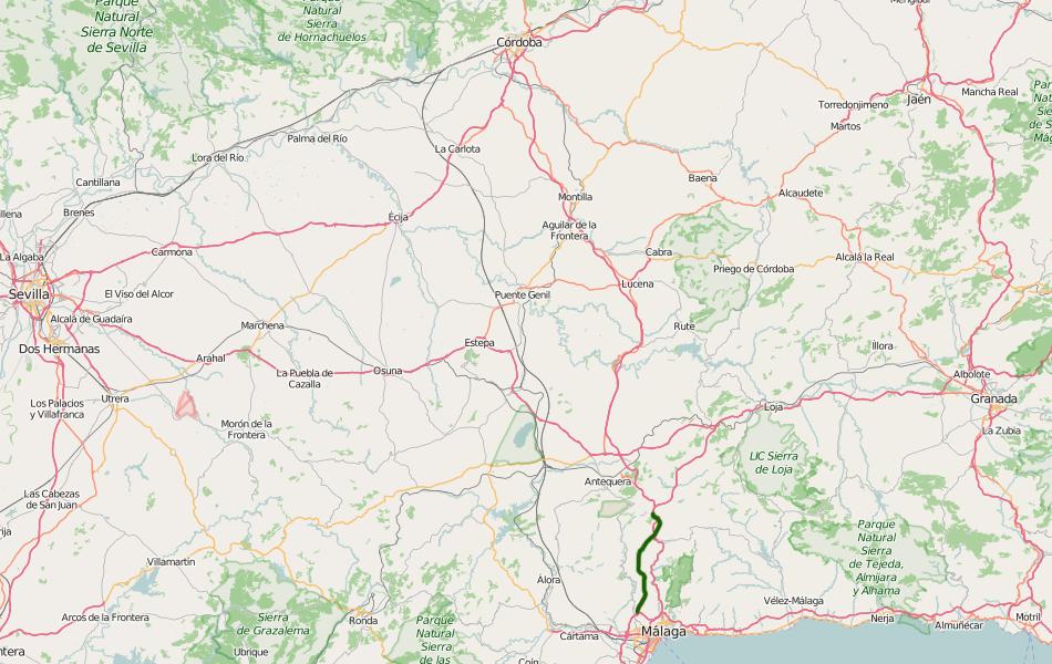 Автомагистраль A-45 в этом месте достаточно загружена, ведь сюда сходятся автомагистрали трех направлений: Мадрид — Кордоба — Малага, Севилья — Малага и Гранада — Малага. Платный дублер AP-46 автомагистрали A-45 выделен зеленным цветом.