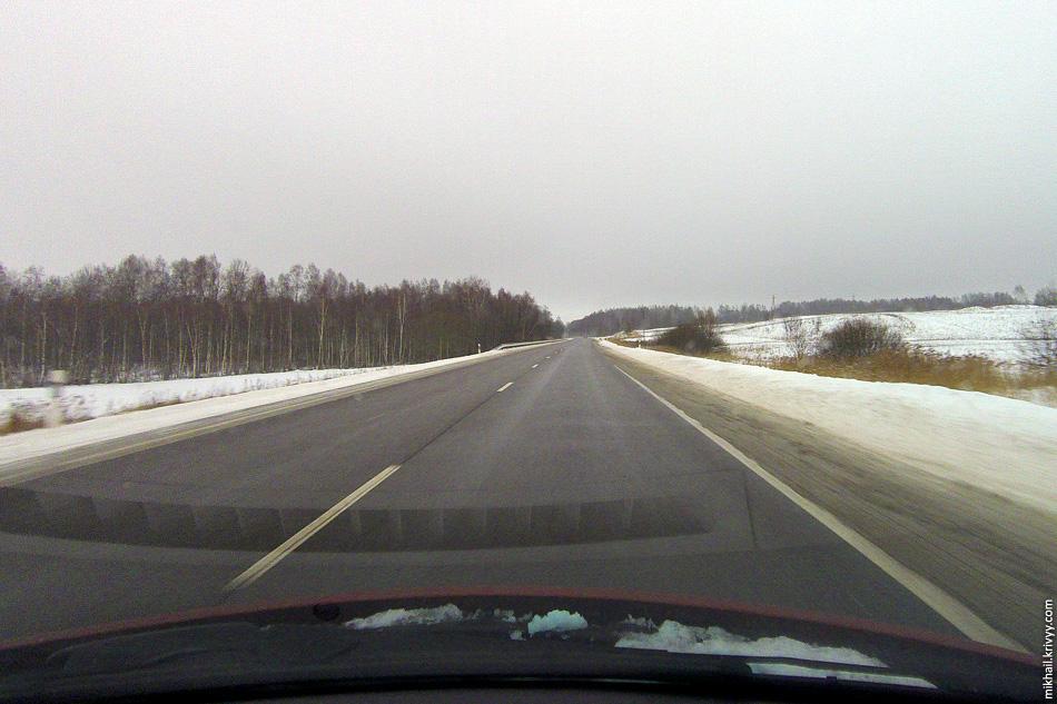 Вот так были убраны дороги в Прибалтике. На фото Литва, автодорога A14 Вильнюс - Утена.