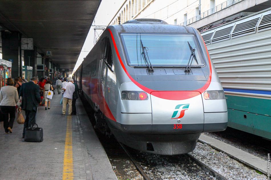 Электропоезд ETR 485 35 «Pendolino». Станция Roma Termini. Это 2009 год, тогда они еще работали под коммерческим названием «Eurostar».