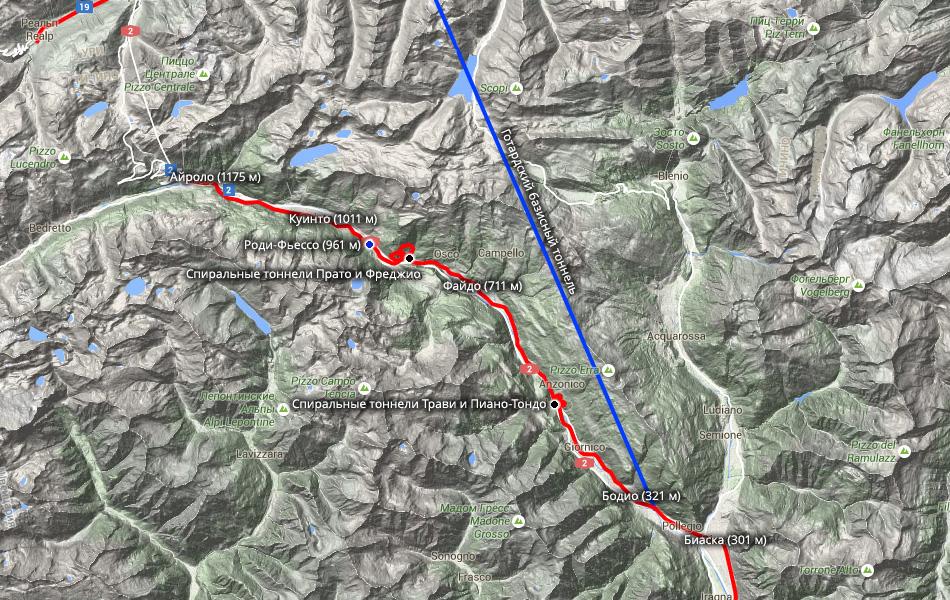 Синим пуансоном отмечена конечная точка нашей поездки. Мы забрались на 961 метр.