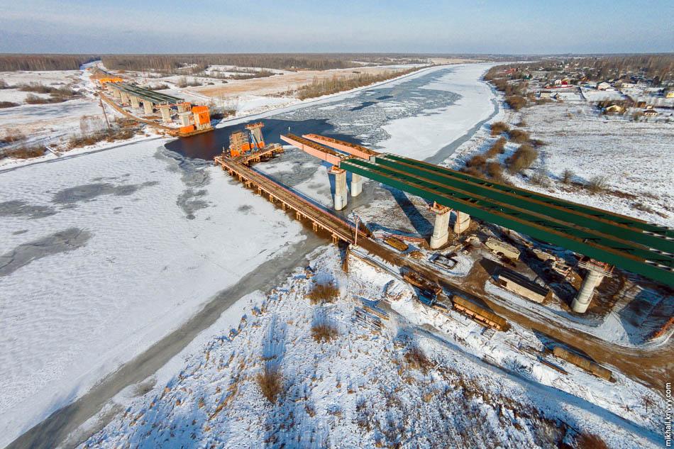 Строительство моста через Волхов. Платная автомагистраль М11 Москва - Санкт-Петербург.
