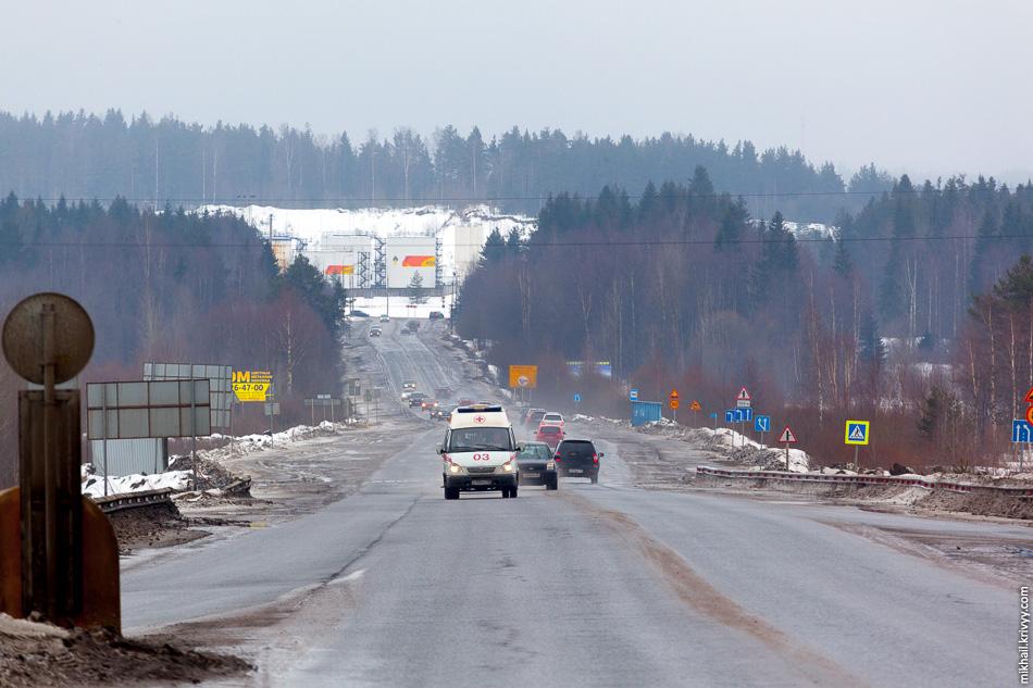 Центральный выход из Петрозаводска на Р-21 «Кола». Дорога на Суоярви.