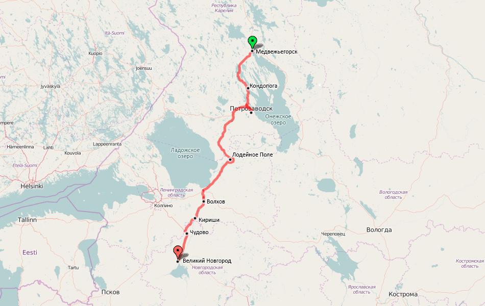 Карта с поездки. GPS трек.